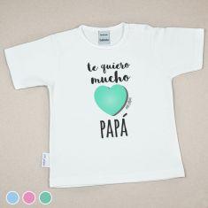Camiseta Divertida Bebé Te quiero mucho Papá Menta, Azul o Rosa