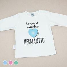 Camiseta Divertida Bebé Te quiero mucho Hermanito Menta, Azul o Rosa