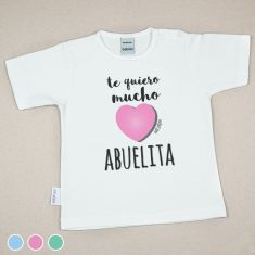 Camiseta Divertida Bebé Te quiero mucho Abuelita Menta, Azul o Rosa