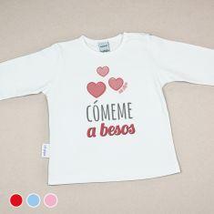 Camiseta Divertida Bebé Cómeme a Besos Rojo, Azul o Rosa