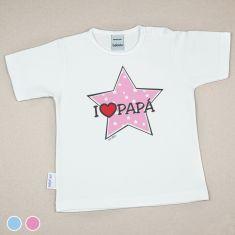 Camiseta o Sudadera Bebé y Niño/a I love Papá con estrella