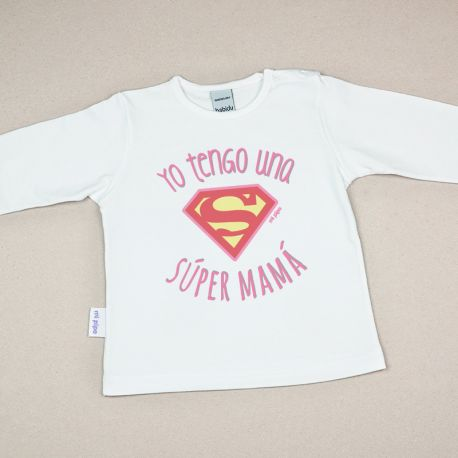 Camiseta Divertida Bebé Yo tengo una Súper Mamá rosa
