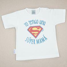 Camiseta Divertida Bebé Yo tengo una Súper Mamá azul