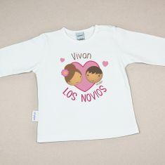 Camiseta Divertida Bebé Vivan los Novios