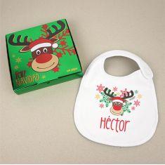 Babero Navideño Personalizado Navidad Rudolph con cajita de regalo