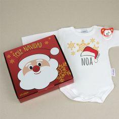 Cajita Navidad Body + Chupete Gorrito Personalizada