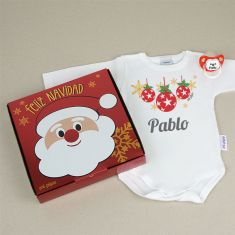 Cajita Navidad Body + Chupete Bolas Personalizada