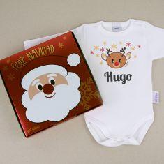 Babidu Body Navideño Personalizado Navidad Reno con cajita de regalo