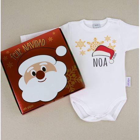 Babidu Body Navideño Personalizado Navidad Gorro Papá Noel con cajita de regalo