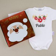Babidu Body Navideño Personalizado Navidad Bolas con cajita de regalo