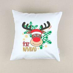 Cojín Navideño Feliz Navidad Reno Rudolph