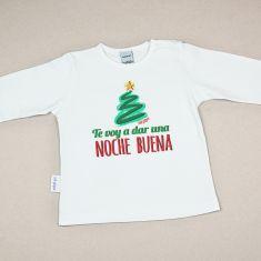 Camiseta Divertida Bebé Navidad Te voy a dar una noche buena