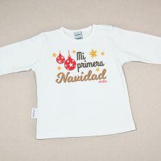 Camiseta Divertida Bebé Navidad Mi primera Navidad Bolas