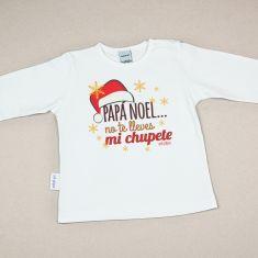 Camiseta Divertida Bebé Navidad Papá Noel no te lleves mi chupete