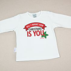 Camiseta Divertida Bebé Navidad All I want for Christmas is you