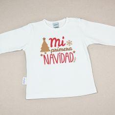 Camiseta Divertida Bebé Navidad Mi primera Navidad retro