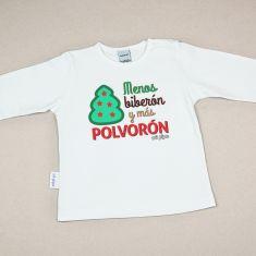 Camiseta Divertida Bebé Navidad Menos biberón y más polvorón