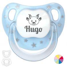 Baby Christmas Customizable Pacifier Name + reindeer White