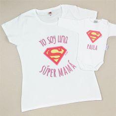 Pack 2 Camisetas Personalizadas Yo soy una Súper Mamá / Super (nombre niña)