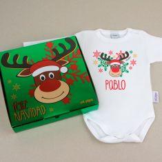 Babidu Body Navideño Personalizado Navidad Rudolph con cajita de regalo