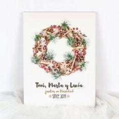 Lienzo Personalizado Navidad Corona (Nombres) Juntos en Navidad since (año nacimiento)