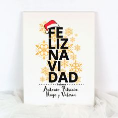 Lienzo Personalizado Navidad Feliz Navidad te desean (Nombres familia)