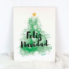Lienzo Navidad Feliz Navidad Árbol Verde