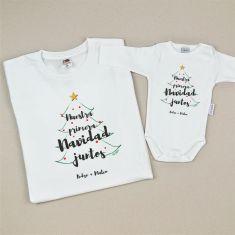 Pack Camiseta + Body Navidad Personalizadas Nuestra primera Navidad juntos Árbol