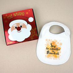 Babero Navideño Soy tu estrella de Navidad con cajita de regalo