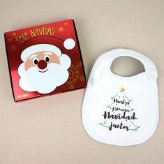 Babero Navideño Nuestra primera Navidad juntos con cajita de regalo