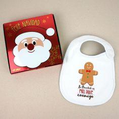 Babero Navideño La Navidad es más dulce conmigo con cajita de regalo