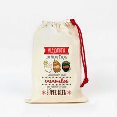 Saco pequeño Navideño para Chuches Los Reyes Magos te han traído estos Caramelos personalizado