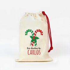 Saco pequeño Navideño para Chuches Bastones Caramelo personalizado