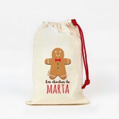 Saco pequeño Navideño para Chuches Galleta Jengibre personalizado