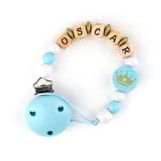 Wood chain Blue Crown Personalized