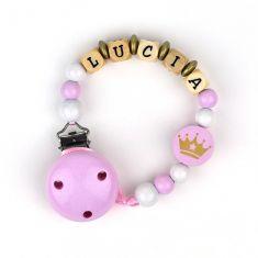 Cadenita de madera personalizada corona rosa