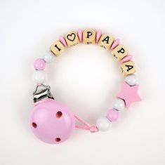 Wood Chain I Love + free Text Pink