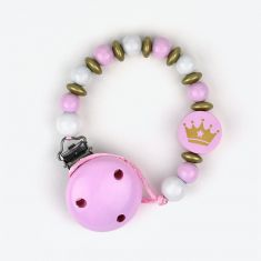 Wood chain Pink Crown not Personalized