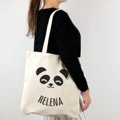Bolso algodón orgánico personalizado Panda + Nombre