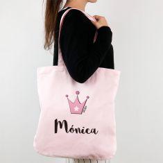 Bolso algodón orgánico personalizado Corona Rosa + Nombre