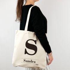 Bolso algodón orgánico personalizado Inicial + Nombre