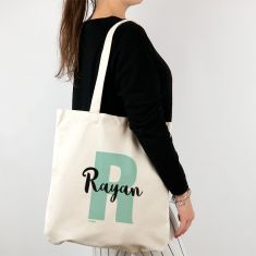 Bolso algodón orgánico personalizado Inicial Menta + Nombre