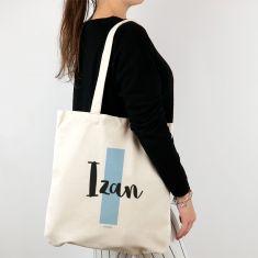 Bolso algodón orgánico personalizado Inicial Azul + Nombre
