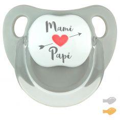 Chupete Baby Deco Gris Mami corazón flecha Papi