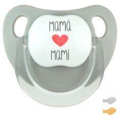 Chupete Baby Deco Gris Mamá corazón Mami