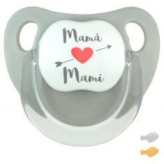 Chupete Baby Deco Gris Mamá corazón flecha Mami