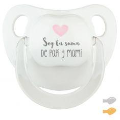 Chupete Baby Deco Blanco-Rosa Soy la suma de Papi y Mami
