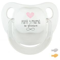 Chupete Baby Deco Blanco-Rosa Papá y Mamá se quieren infinito