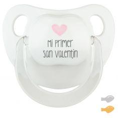 Chupete Baby Deco Blanco-Rosa Mi primer San Valentín