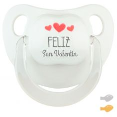 Chupete Baby Deco Blanco Feliz San Valentín